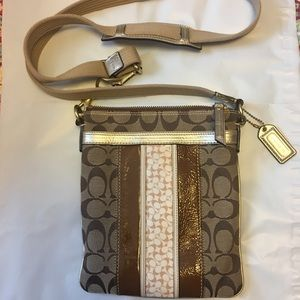 Coach Crossbody Woven/ Brown Patent Leather Bag
